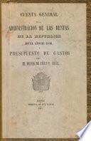 Cuenta general de la administracion de las rentas de la República en el año de 1846