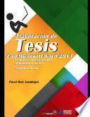 Elaboración de Tesis con Microsoft Word 2013