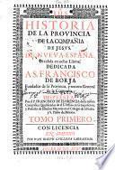 Historia de la provincia de la compañia de Jesus de Nueva-España