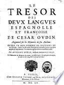 Le trésor des deux langues espagnolle et françoise