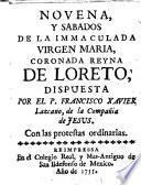 Novena, y Sabados de la Immaculada Virgen Maria, Coronada Reyna De Loreto