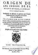 Origen de los indios de el Nuevo Mundo, e Indias Occidentales