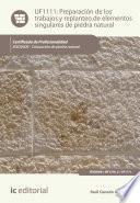 Preparación de los trabajos y replanteo de elementos singulares de piedra natural. IEXD0409
