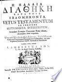 Vetus Testamentum graec. ex versione LXX sec. exe, plar Vaticanum