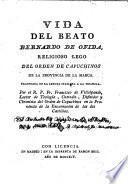Vida del Beato Bernardo de Ofida, religioso lego del Orden de Capuchinos de la Prov. de la Marca
