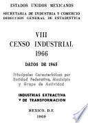 VIII Censo Industrial, 1966. Principales Características por Entidad Federativa, Municipio y Grupo de Actividad. Industria Extractiva y de Transformación. Datos 1965